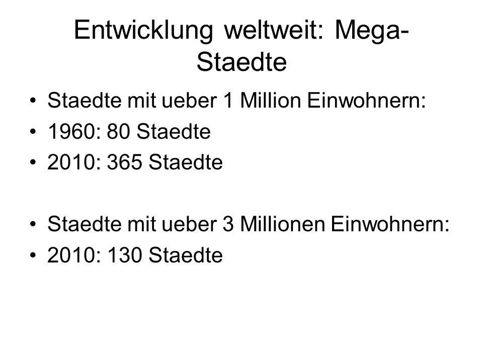 Entwicklung weltweit: Mega- Staedte Staedte mit ueber 1 Million Einwohnern: 1960: 80 Staedte 2010: 365 Staedte Staedte mit ueber 3 Millionen Einwohner
