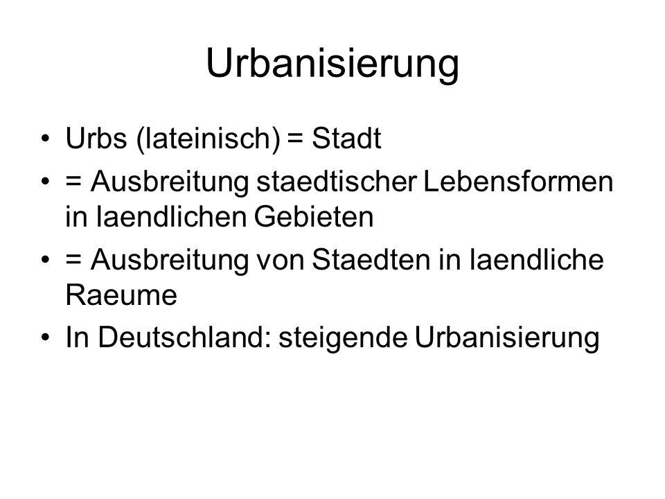 Urbanisierung Urbs (lateinisch) = Stadt = Ausbreitung staedtischer Lebensformen in laendlichen Gebieten = Ausbreitung von Staedten in laendliche Raeum