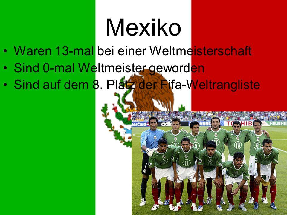 Mexiko Waren 13-mal bei einer Weltmeisterschaft Sind 0-mal Weltmeister geworden Sind auf dem 8.