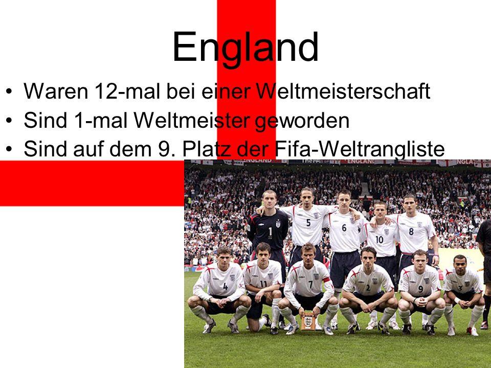 England Waren 12-mal bei einer Weltmeisterschaft Sind 1-mal Weltmeister geworden Sind auf dem 9.