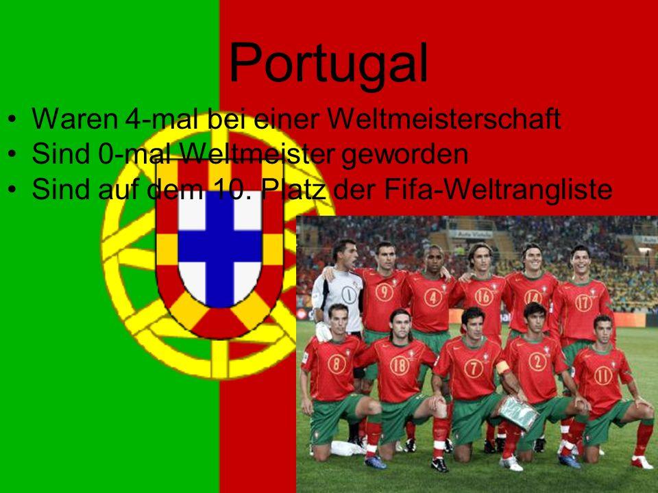 Portugal Waren 4-mal bei einer Weltmeisterschaft Sind 0-mal Weltmeister geworden Sind auf dem 10.