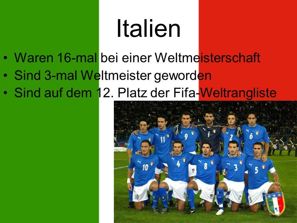 Italien Waren 16-mal bei einer Weltmeisterschaft Sind 3-mal Weltmeister geworden Sind auf dem 12.