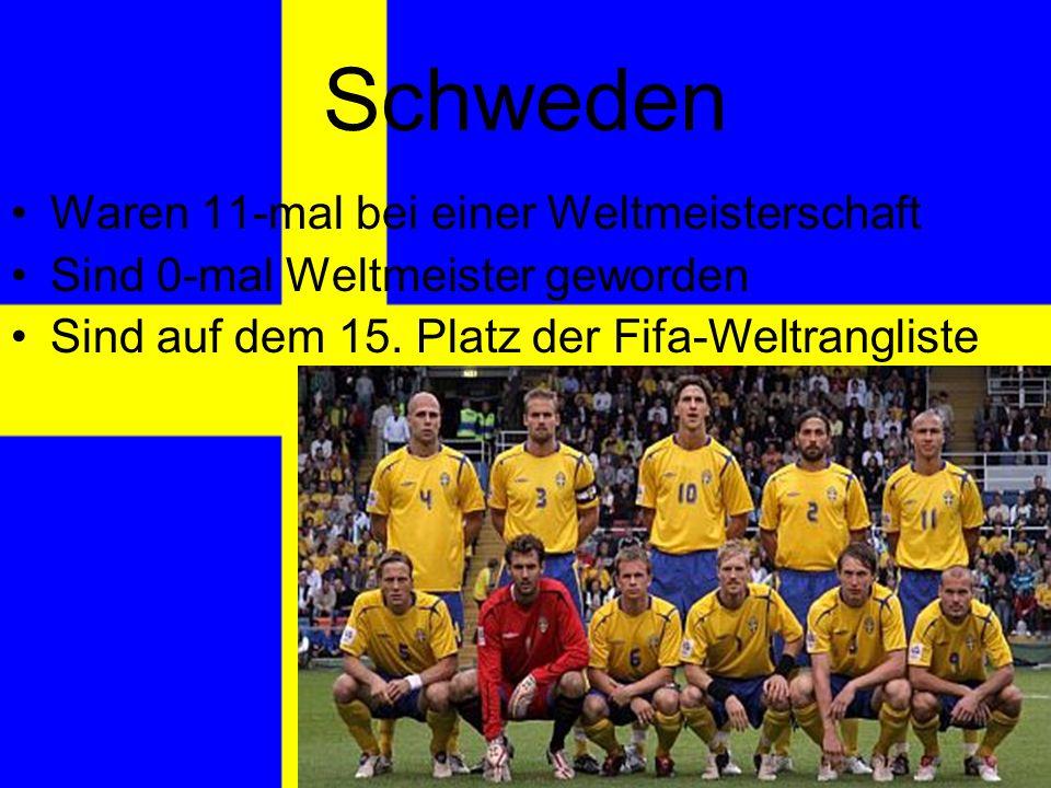 Schweden Waren 11-mal bei einer Weltmeisterschaft Sind 0-mal Weltmeister geworden Sind auf dem 15.