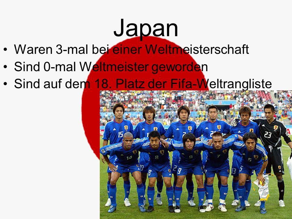 Japan Waren 3-mal bei einer Weltmeisterschaft Sind 0-mal Weltmeister geworden Sind auf dem 18.