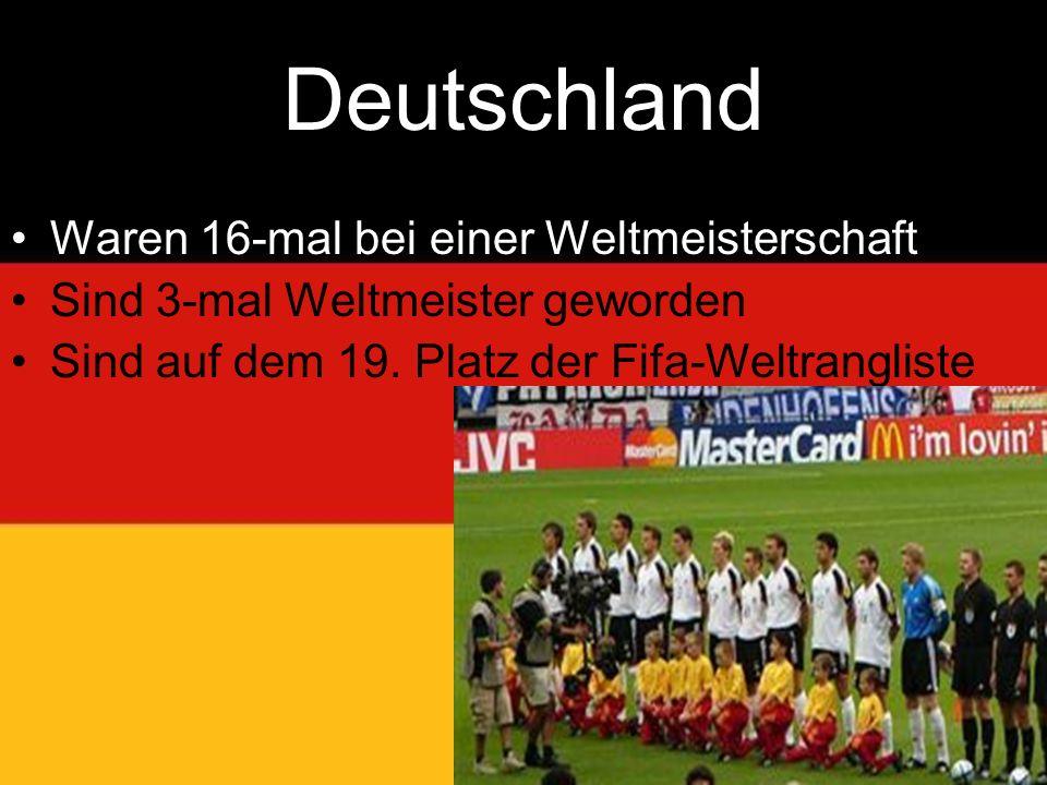 Deutschland Waren 16-mal bei einer Weltmeisterschaft Sind 3-mal Weltmeister geworden Sind auf dem 19.