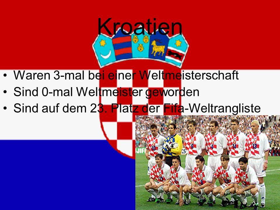 Kroatien Waren 3-mal bei einer Weltmeisterschaft Sind 0-mal Weltmeister geworden Sind auf dem 23.