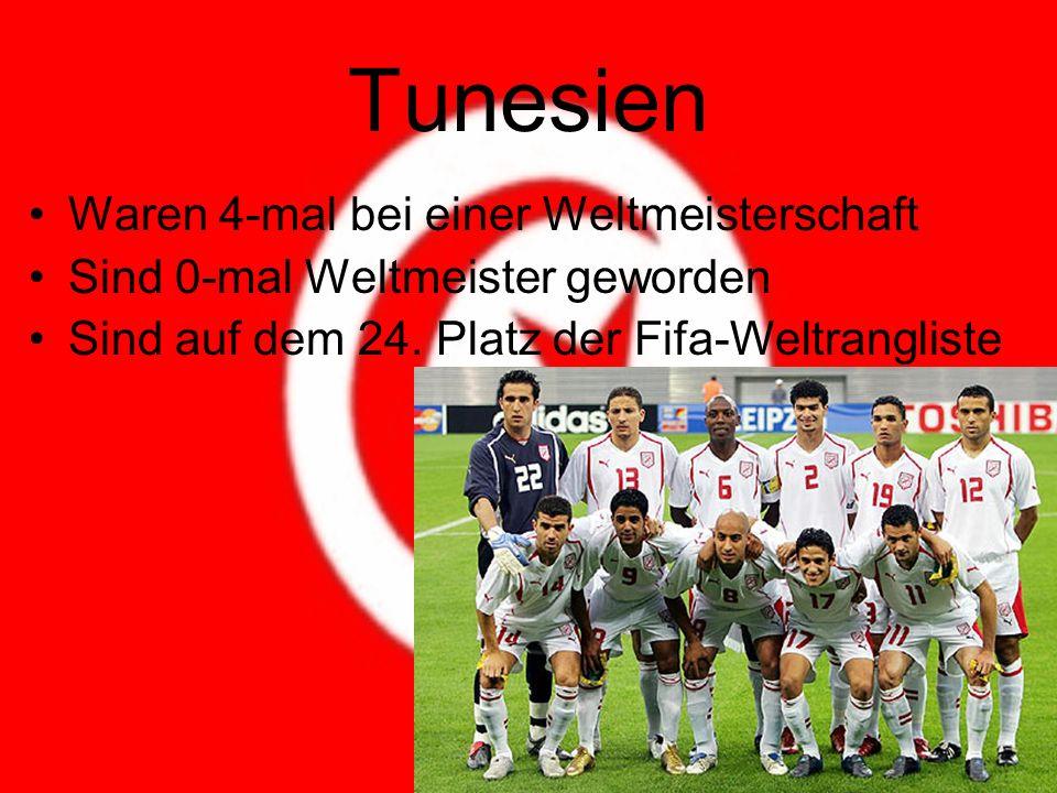 Tunesien Waren 4-mal bei einer Weltmeisterschaft Sind 0-mal Weltmeister geworden Sind auf dem 24.
