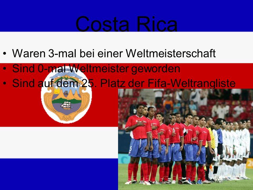 Costa Rica Waren 3-mal bei einer Weltmeisterschaft Sind 0-mal Weltmeister geworden Sind auf dem 25.
