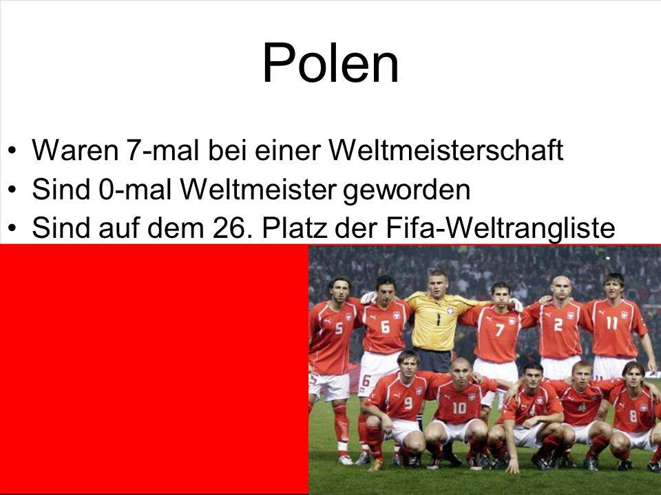 Polen Waren 7-mal bei einer Weltmeisterschaft Sind 0-mal Weltmeister geworden Sind auf dem 26.