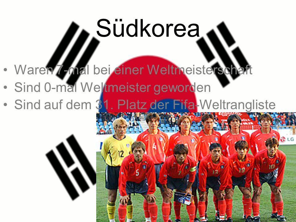 Südkorea Waren 7-mal bei einer Weltmeisterschaft Sind 0-mal Weltmeister geworden Sind auf dem 31.