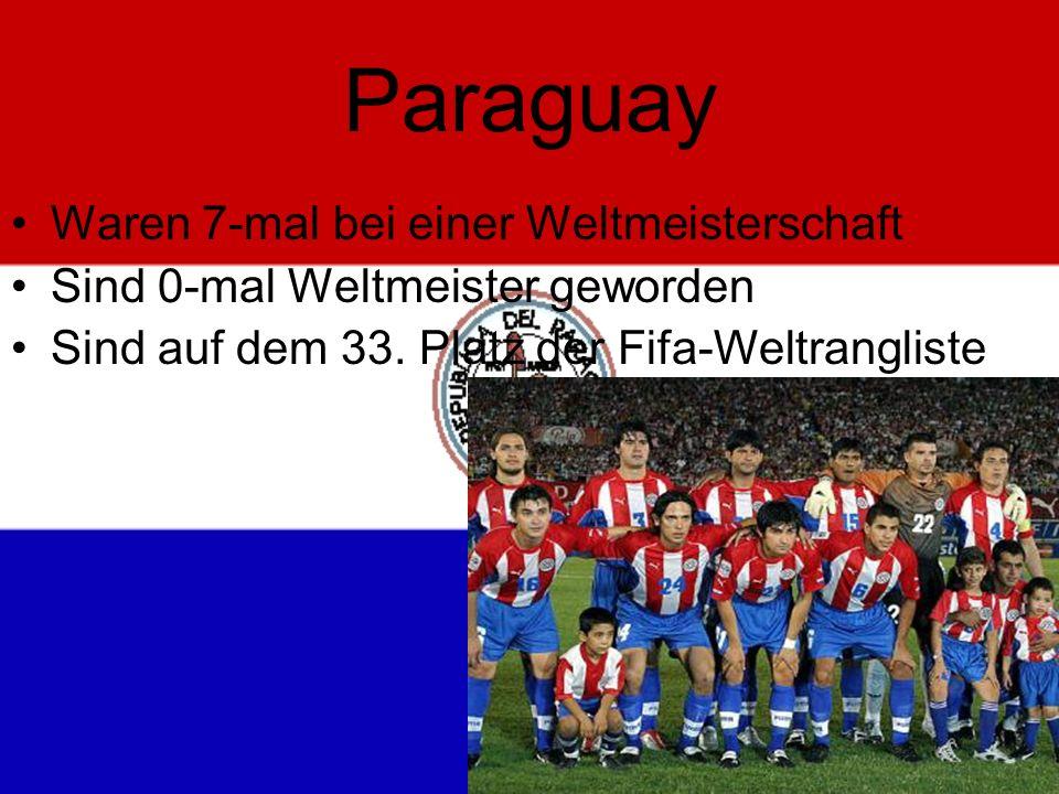 Paraguay Waren 7-mal bei einer Weltmeisterschaft Sind 0-mal Weltmeister geworden Sind auf dem 33.