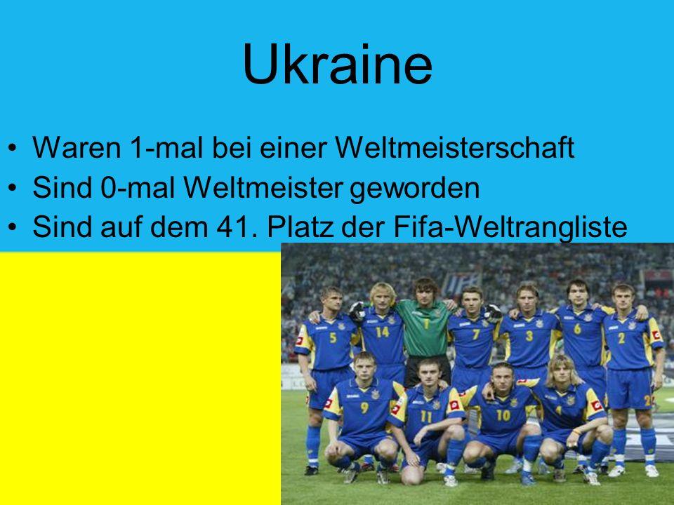 Ukraine Waren 1-mal bei einer Weltmeisterschaft Sind 0-mal Weltmeister geworden Sind auf dem 41.