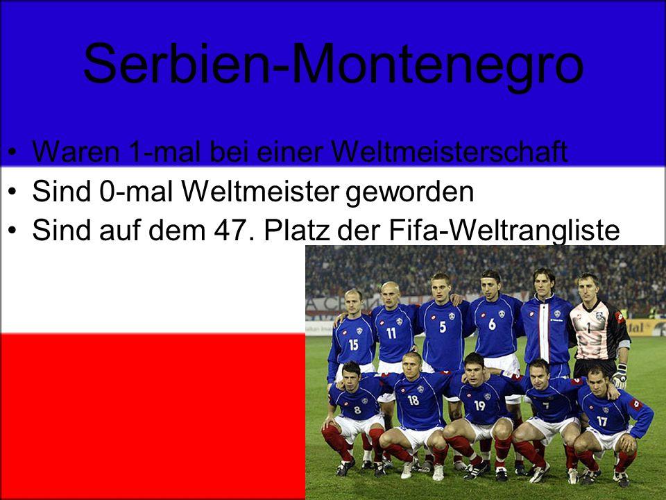 Serbien-Montenegro Waren 1-mal bei einer Weltmeisterschaft Sind 0-mal Weltmeister geworden Sind auf dem 47.