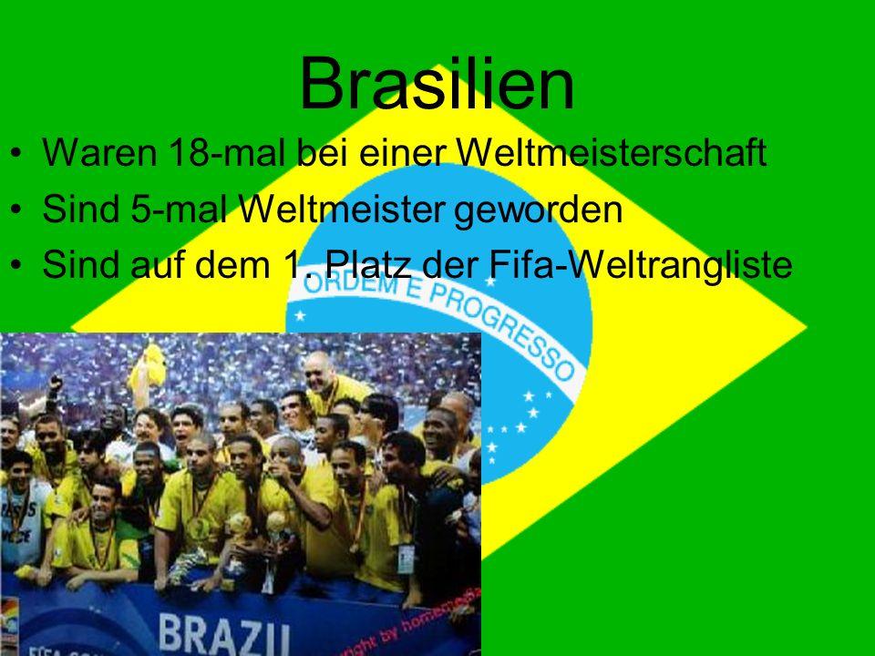 Brasilien Waren 18-mal bei einer Weltmeisterschaft Sind 5-mal Weltmeister geworden Sind auf dem 1.