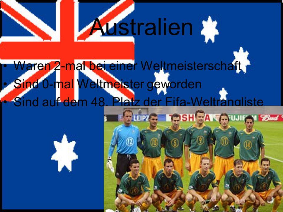 Australien Waren 2-mal bei einer Weltmeisterschaft Sind 0-mal Weltmeister geworden Sind auf dem 48.