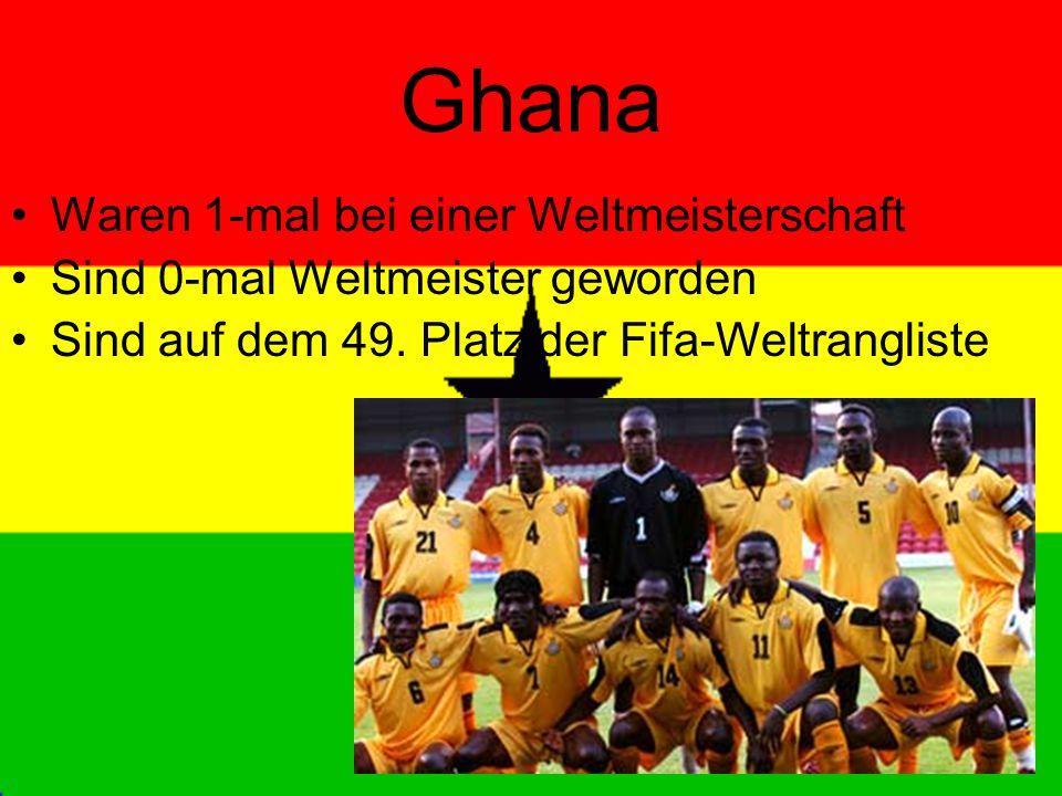 Ghana Waren 1-mal bei einer Weltmeisterschaft Sind 0-mal Weltmeister geworden Sind auf dem 49.