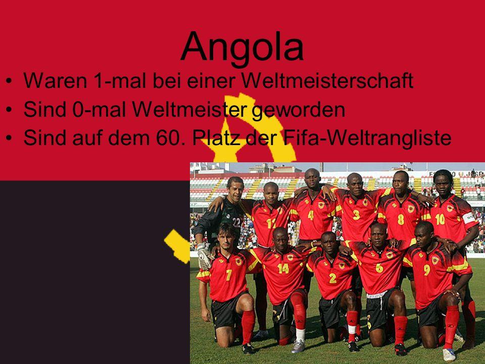 Angola Waren 1-mal bei einer Weltmeisterschaft Sind 0-mal Weltmeister geworden Sind auf dem 60.