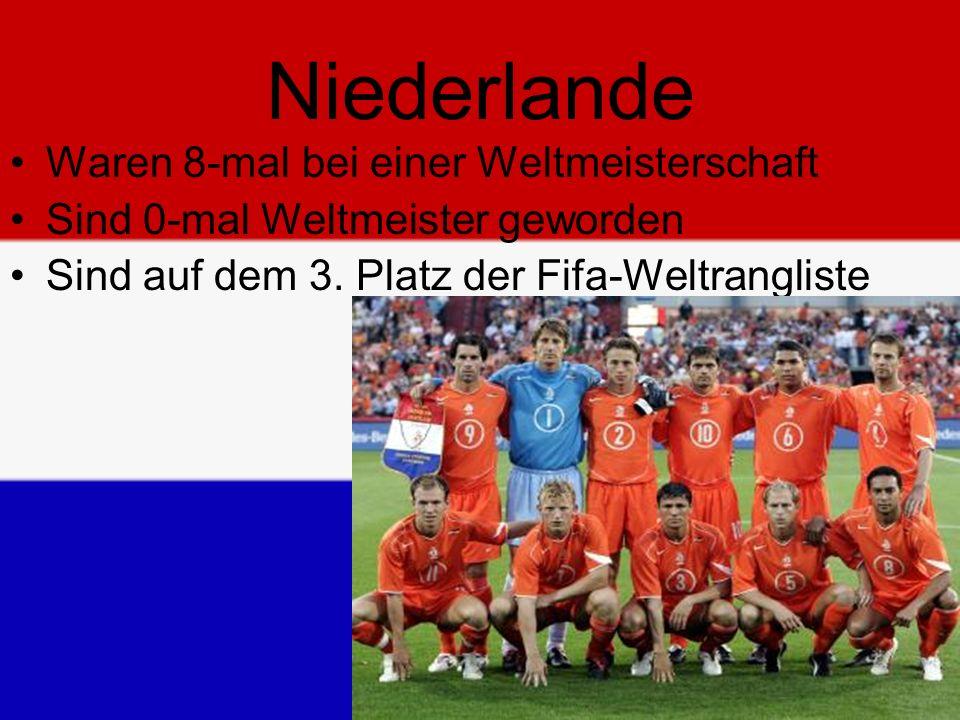 Niederlande Waren 8-mal bei einer Weltmeisterschaft Sind 0-mal Weltmeister geworden Sind auf dem 3.