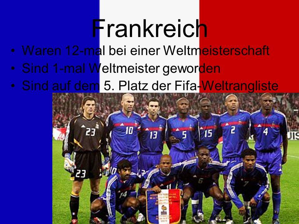 Frankreich Waren 12-mal bei einer Weltmeisterschaft Sind 1-mal Weltmeister geworden Sind auf dem 5.