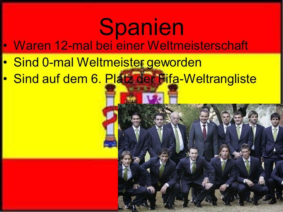 Spanien Waren 12-mal bei einer Weltmeisterschaft Sind 0-mal Weltmeister geworden Sind auf dem 6.