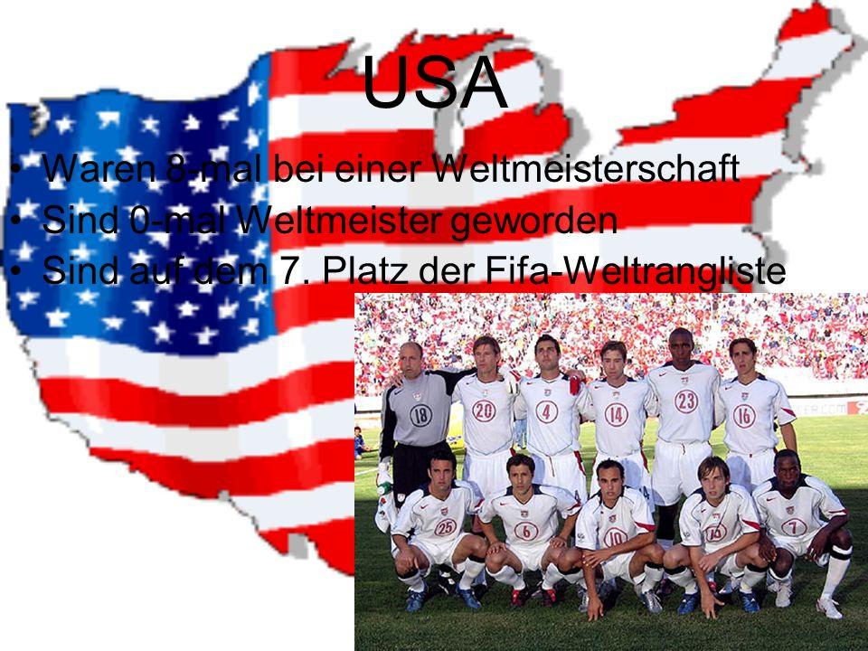 USA Waren 8-mal bei einer Weltmeisterschaft Sind 0-mal Weltmeister geworden Sind auf dem 7.