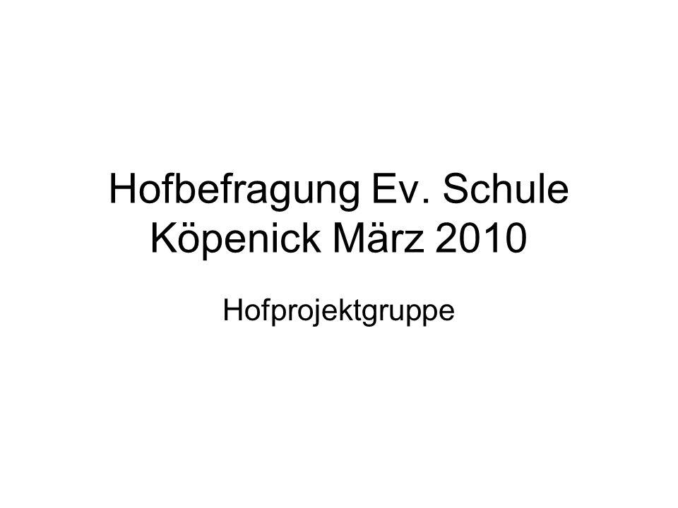 Hofbefragung Ev. Schule Köpenick März 2010 Hofprojektgruppe