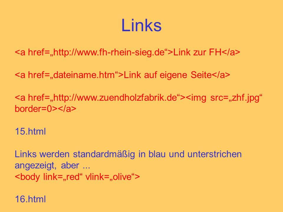 Links Link zur FH Link auf eigene Seite 15.html Links werden standardmäßig in blau und unterstrichen angezeigt, aber...