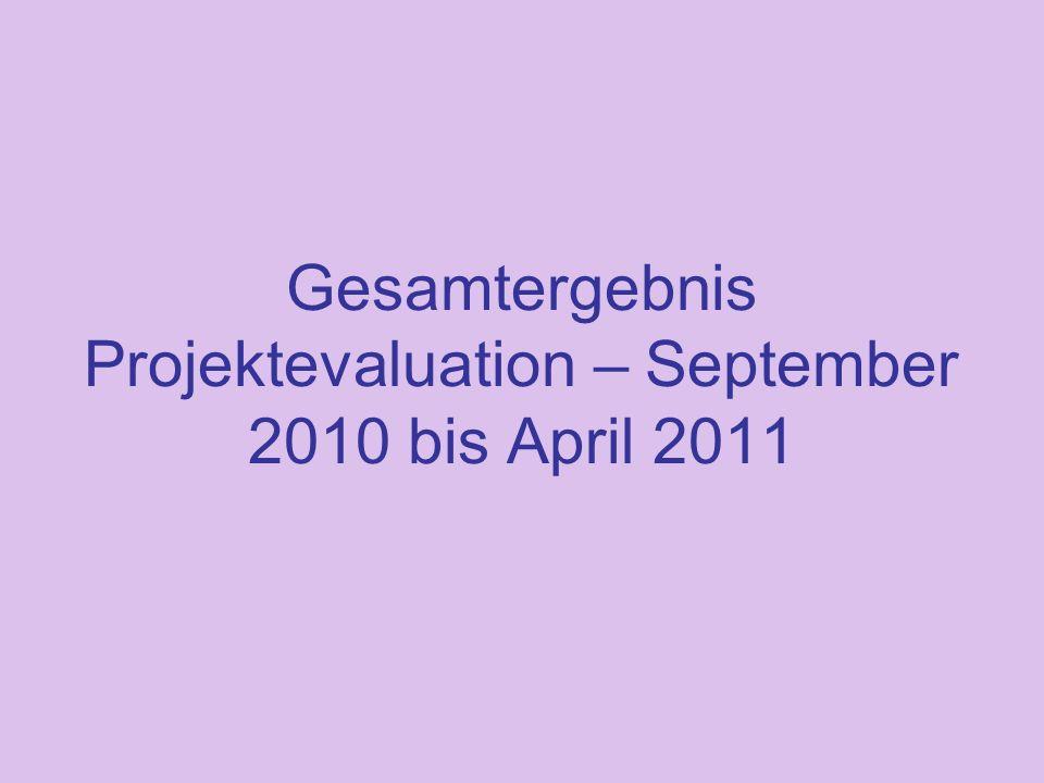 Gesamtergebnis Projektevaluation – September 2010 bis April 2011