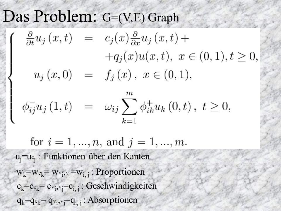 Das Problem: G=(V,E) Graph u j =u e j : Funktionen über den Kanten w k =w e k = w v i, v j =w i, j : Proportionen c k =c e k = c v i, v j =c i, j : Geschwindigkeiten q k =q e k = q v i, v j =q i, j : Absorptionen