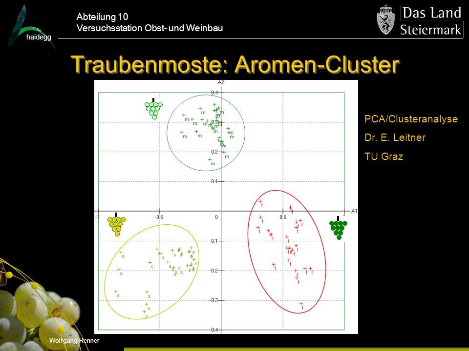 haidegg Abteilung 10 Versuchsstation Obst- und Weinbau Traubenmoste: Aromen-Cluster Wolfgang Renner PCA/Clusteranalyse Dr.