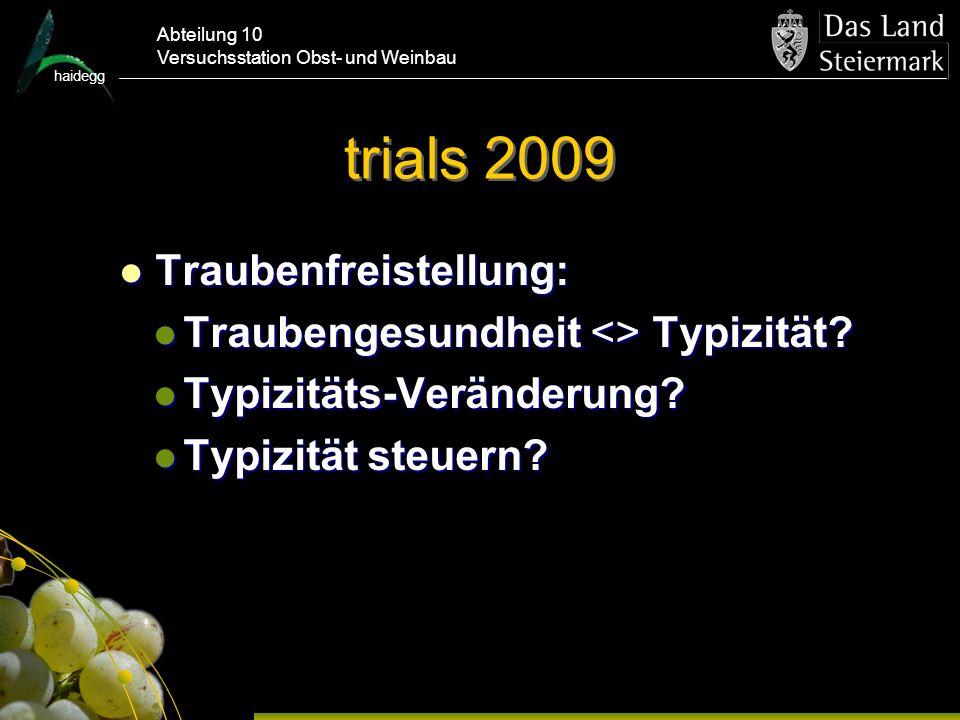 haidegg Abteilung 10 Versuchsstation Obst- und Weinbau trials 2009 Traubenfreistellung: Traubenfreistellung: Traubengesundheit <> Typizität.