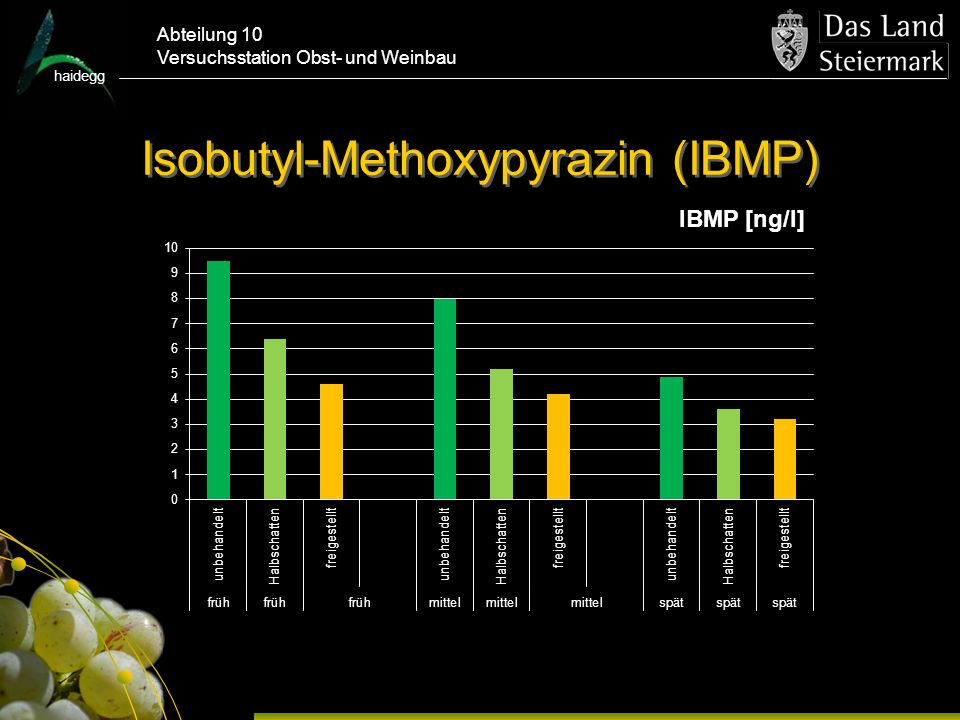 haidegg Abteilung 10 Versuchsstation Obst- und Weinbau Isobutyl-Methoxypyrazin (IBMP)