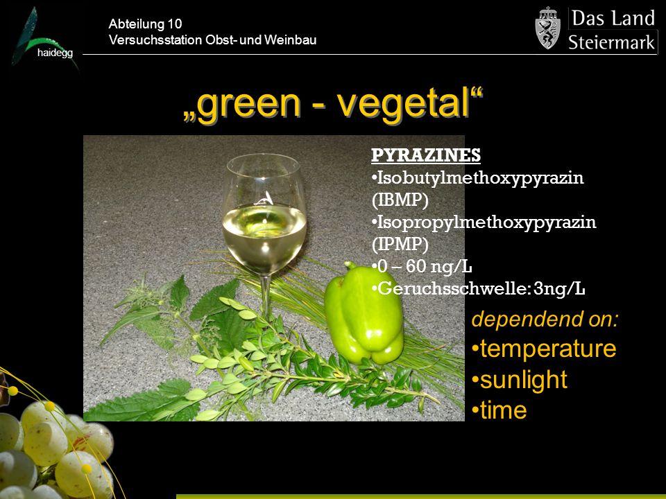 haidegg Abteilung 10 Versuchsstation Obst- und Weinbau green - vegetal PYRAZINES Isobutylmethoxypyrazin (IBMP) Isopropylmethoxypyrazin (IPMP) 0 – 60 ng/L Geruchsschwelle: 3ng/L dependend on: temperature sunlight time