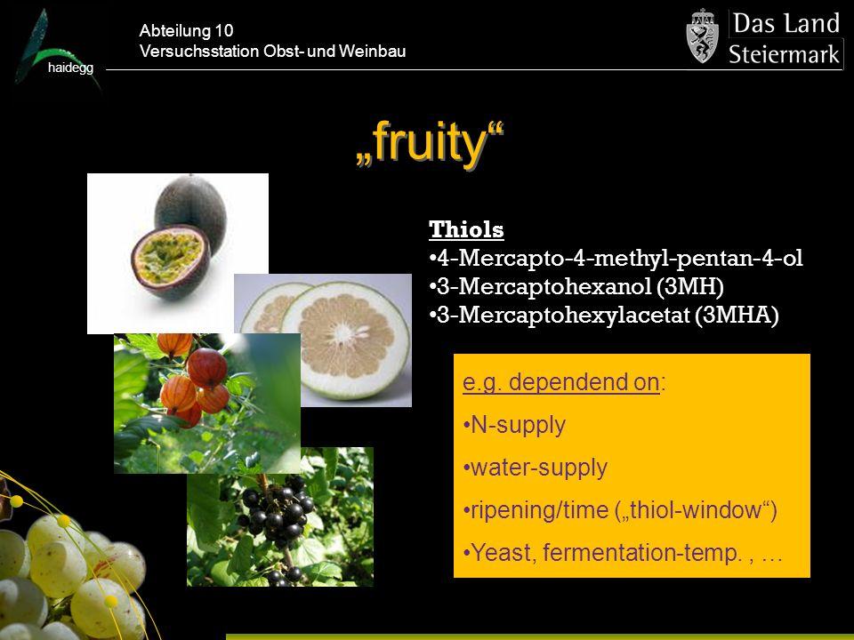 haidegg Abteilung 10 Versuchsstation Obst- und Weinbau fruity Thiols 4-Mercapto-4-methyl-pentan-4-ol 3-Mercaptohexanol (3MH) 3-Mercaptohexylacetat (3MHA) e.g.