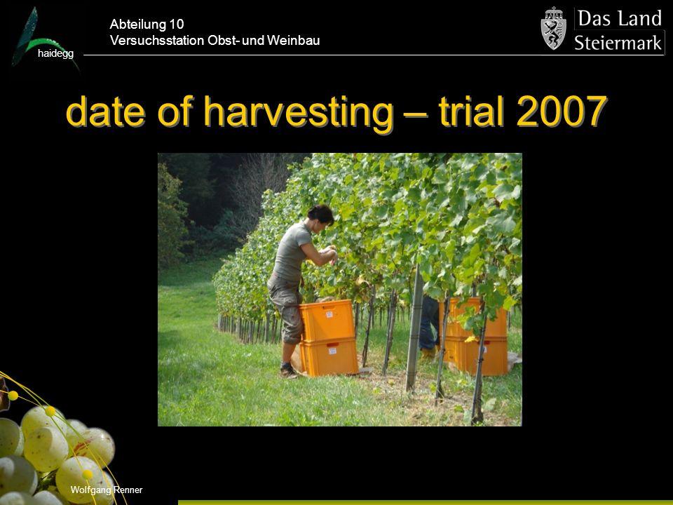 haidegg Abteilung 10 Versuchsstation Obst- und Weinbau date of harvesting – trial 2007 Wolfgang Renner