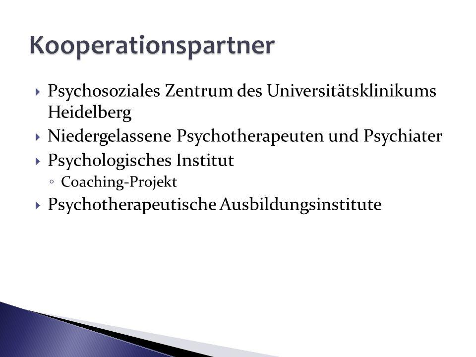 Psychosoziales Zentrum des Universitätsklinikums Heidelberg Niedergelassene Psychotherapeuten und Psychiater Psychologisches Institut Coaching-Projekt