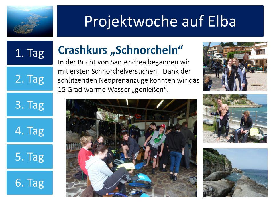 Projektwoche auf Elba Crashkurs Schnorcheln In der Bucht von San Andrea begannen wir mit ersten Schnorchelversuchen. Dank der schützenden Neoprenanzüg