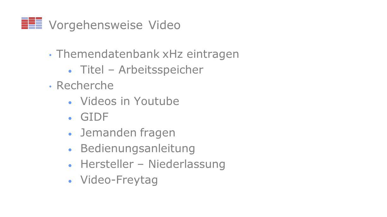 Vorgehensweise Video Themendatenbank xHz eintragen Titel – Arbeitsspeicher Recherche Videos in Youtube GIDF Jemanden fragen Bedienungsanleitung Hersteller – Niederlassung Video-Freytag