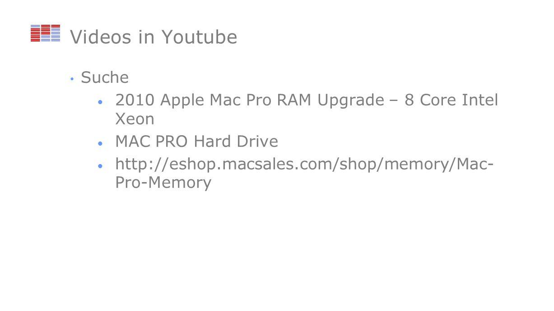 Videos in Youtube Suche 2010 Apple Mac Pro RAM Upgrade – 8 Core Intel Xeon MAC PRO Hard Drive http://eshop.macsales.com/shop/memory/Mac- Pro-Memory