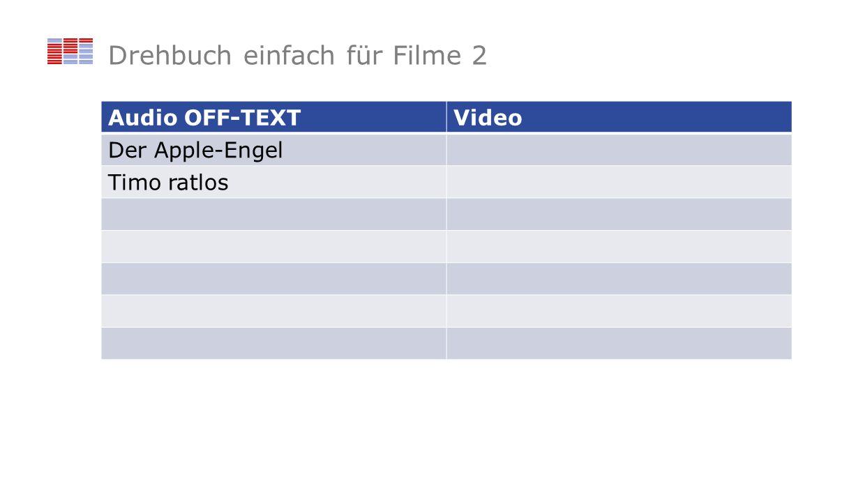 Drehbuch einfach für Filme 2 Audio OFF-TEXTVideo Der Apple-Engel Timo ratlos