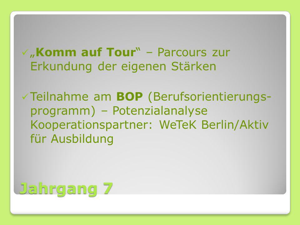 Jahrgang 7 Komm auf Tour – Parcours zur Erkundung der eigenen Stärken Teilnahme am BOP (Berufsorientierungs- programm) – Potenzialanalyse Kooperations