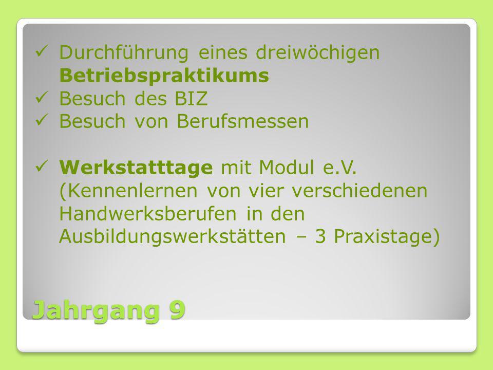 Jahrgang 9 Durchführung eines dreiwöchigen Betriebspraktikums Besuch des BIZ Besuch von Berufsmessen Werkstatttage mit Modul e.V. (Kennenlernen von vi