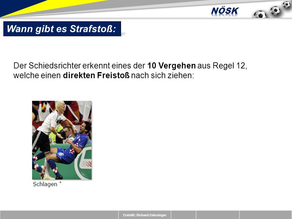 Erstellt: Richard Zeinzinger Wann gibt es Strafstoß: Der Schiedsrichter erkennt eines der 10 Vergehen aus Regel 12, welche einen direkten Freistoß nac
