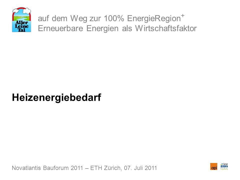 auf dem Weg zur 100% EnergieRegion + Erneuerbare Energien als Wirtschaftsfaktor Heizenergiebedarf Novatlantis Bauforum 2011 – ETH Zürich, 07. Juli 201