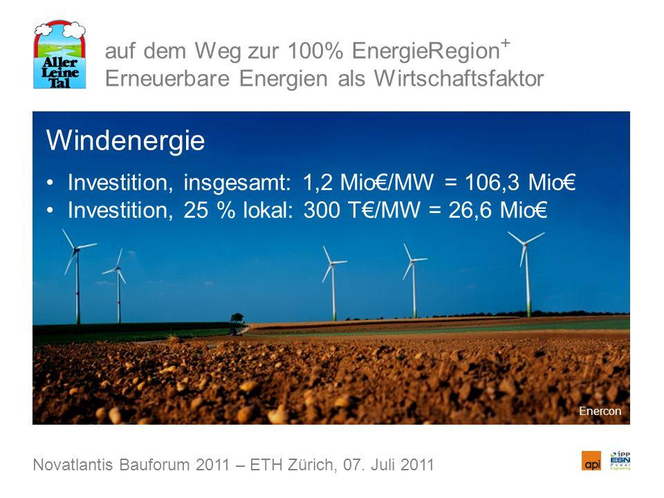auf dem Weg zur 100% EnergieRegion + Erneuerbare Energien als Wirtschaftsfaktor Windenergie Investition, insgesamt: 1,2 Mio/MW = 106,3 Mio Investition, 25 % lokal: 300 T/MW = 26,6 Mio Novatlantis Bauforum 2011 – ETH Zürich, 07.