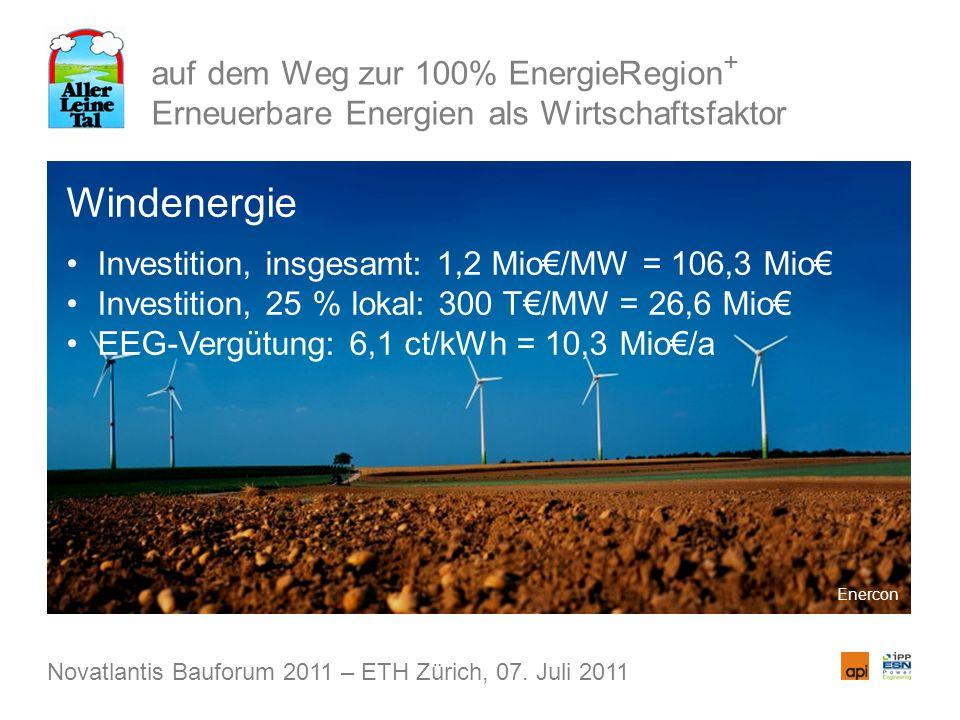 auf dem Weg zur 100% EnergieRegion + Erneuerbare Energien als Wirtschaftsfaktor Windenergie Investition, insgesamt: 1,2 Mio/MW = 106,3 Mio Investition, 25 % lokal: 300 T/MW = 26,6 Mio EEG-Vergütung: 6,1 ct/kWh = 10,3 Mio/a Novatlantis Bauforum 2011 – ETH Zürich, 07.