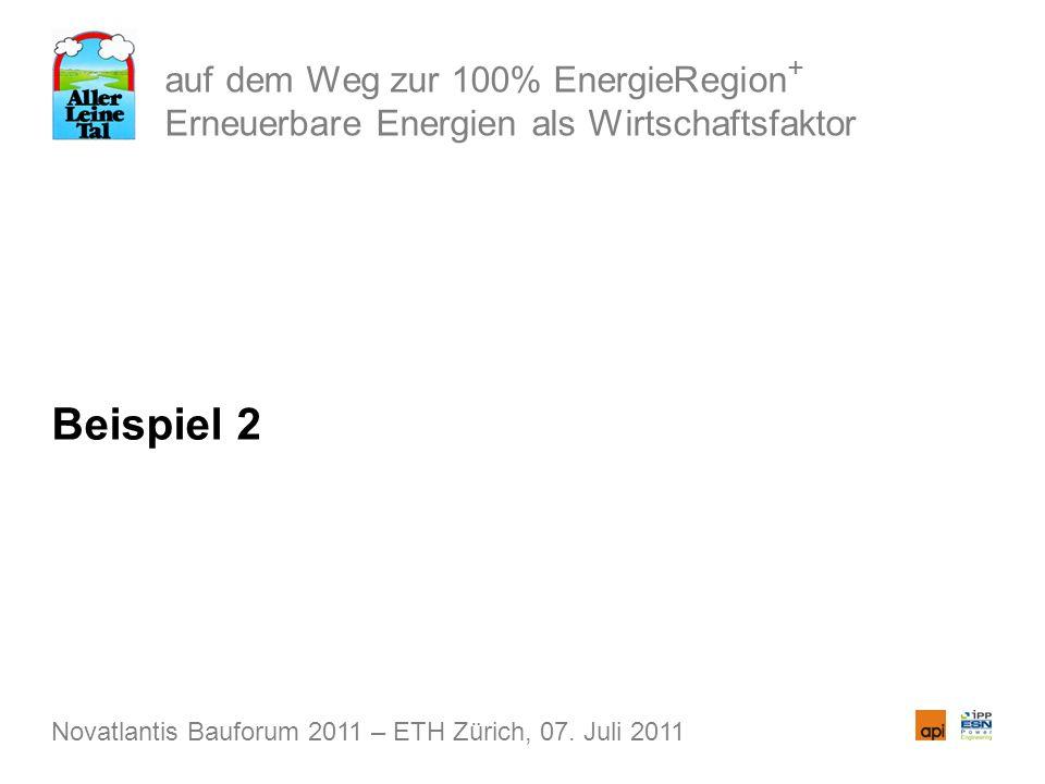 auf dem Weg zur 100% EnergieRegion + Erneuerbare Energien als Wirtschaftsfaktor Beispiel 2 Novatlantis Bauforum 2011 – ETH Zürich, 07. Juli 2011