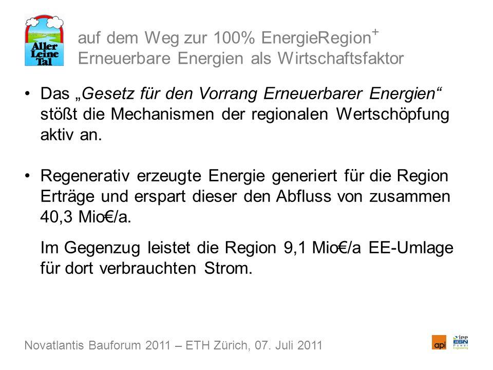 auf dem Weg zur 100% EnergieRegion + Erneuerbare Energien als Wirtschaftsfaktor Das Gesetz für den Vorrang Erneuerbarer Energien stößt die Mechanismen