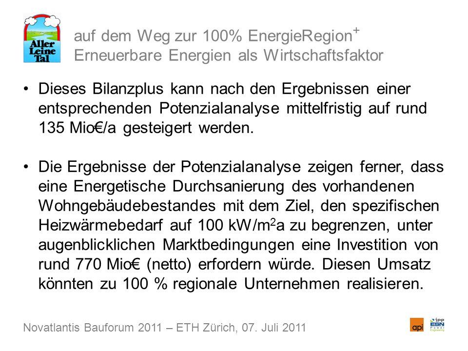 auf dem Weg zur 100% EnergieRegion + Erneuerbare Energien als Wirtschaftsfaktor Dieses Bilanzplus kann nach den Ergebnissen einer entsprechenden Potenzialanalyse mittelfristig auf rund 135 Mio/a gesteigert werden.