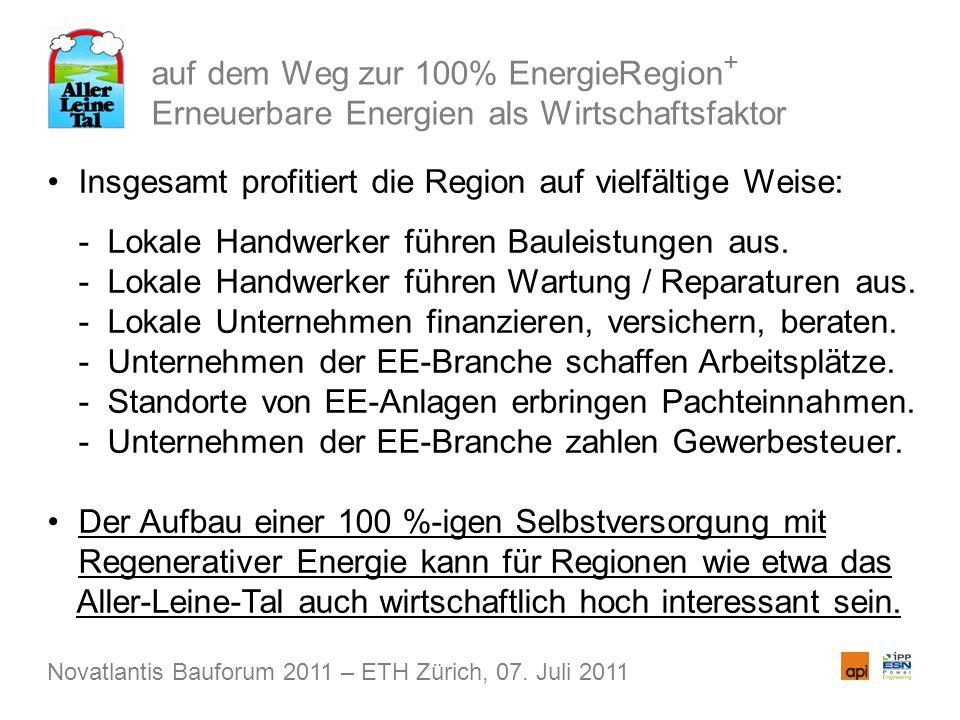auf dem Weg zur 100% EnergieRegion + Erneuerbare Energien als Wirtschaftsfaktor Insgesamt profitiert die Region auf vielfältige Weise: - Lokale Handwe